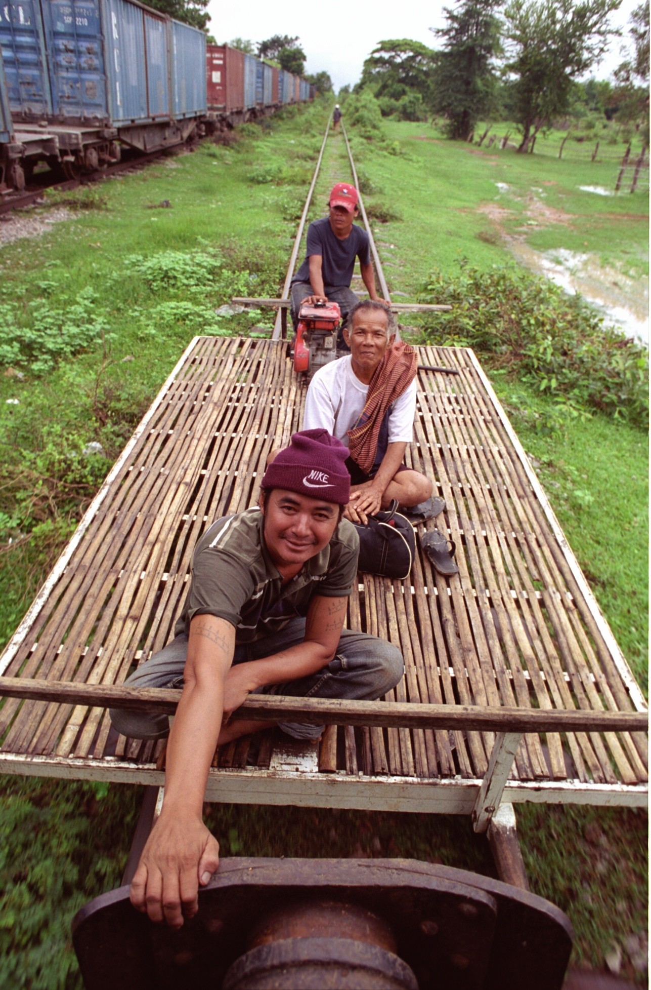 bamboo train in action